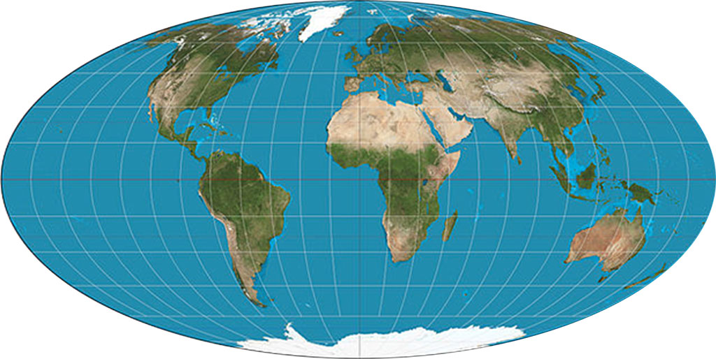 Mollweide projection of Earth.