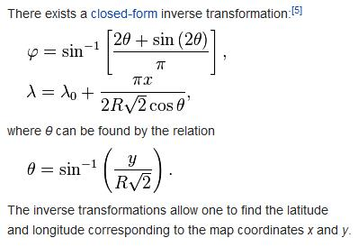 Mollweide inverse transformation